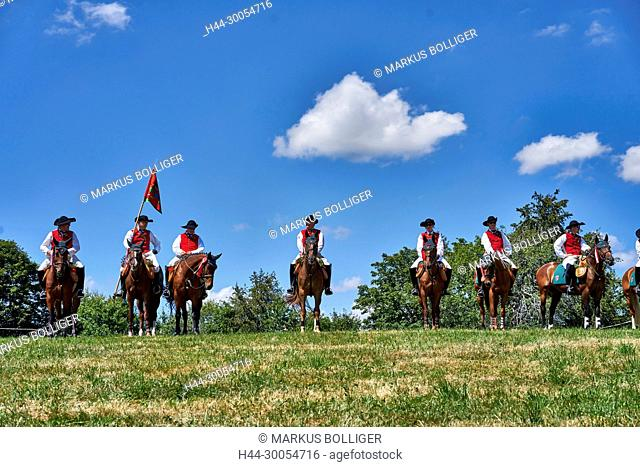 Guild Höngg, riders, horses, horses, ride, riding horse, flag, guild, cavalry