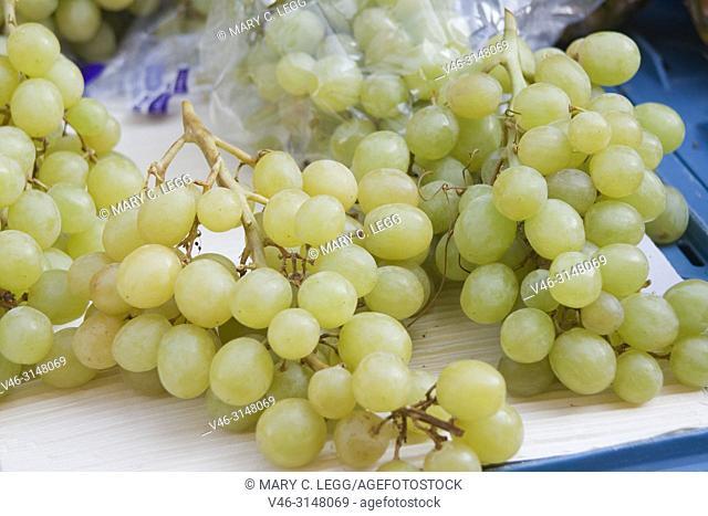 Fresh green grapes in Havelska market, Prague, Czech Republic