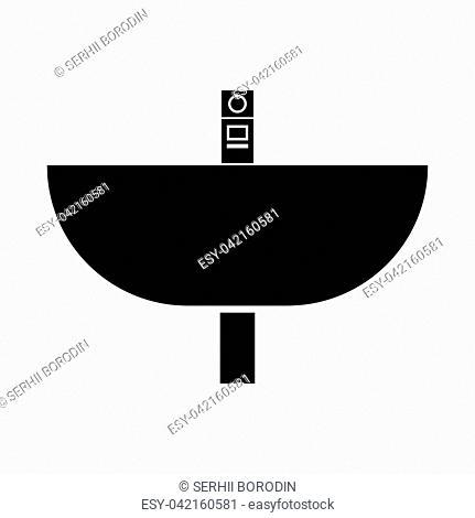 Wash basin it is black color icon