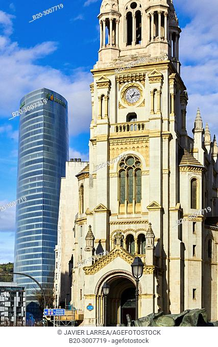 Iberdrola tower and San Jose Church, Bilbao, Bizkaia, Basque Country, Spain, Europe