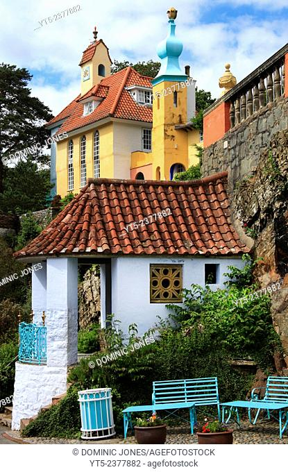 The ornate architecture of Portmeirion, Wales, Europe
