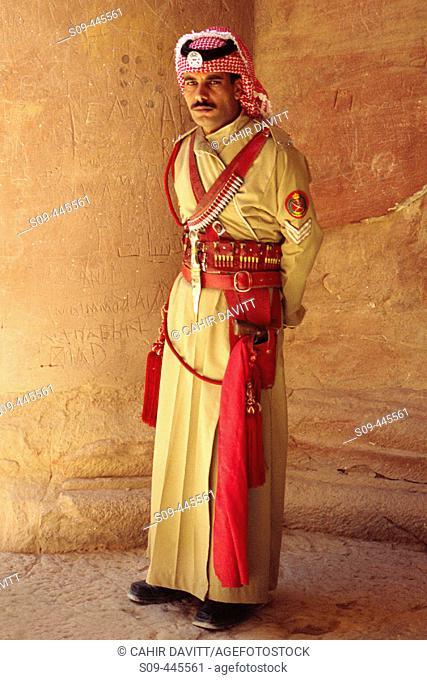 Guard of the Khasneh ('Treasury') at Petra. Jordan