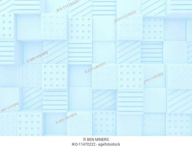 Abstract full frame three dimensional textured block pattern