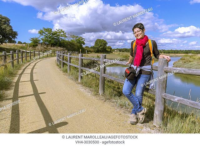 Walkway and Bikeway Bourgenay-La Guittière through Payré Estuary and the Salt Marsh. Talmont-Saint-Hilaire, Sables-d'Olonne District, Vendée Department