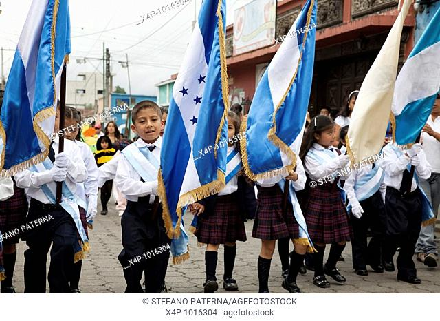 Independence Day Parade on 15 September in Ciudad Vieja near Antigua Guatemala