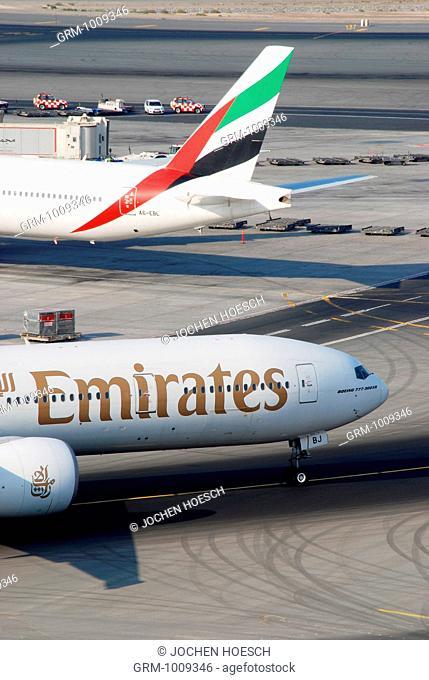 Aircrafts of Emirates Airline Fleet at Dubai International Airport, Dubai, UAE