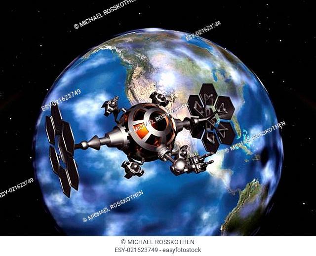 Die Erde und eine Raumsonde