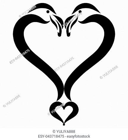 Heart of two loving flamingos, creative symbol