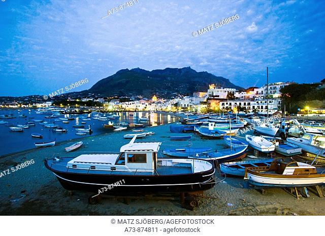 Forio as seen from the port, Ischia. Campania, Italy