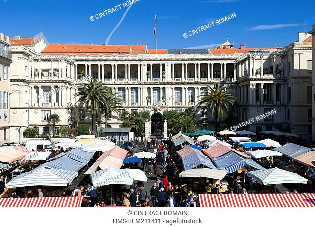France, Alpes Maritimes, Nice, the Prefecture Palace on the Pierre Gautier square, square that opens up on the cours Saleya