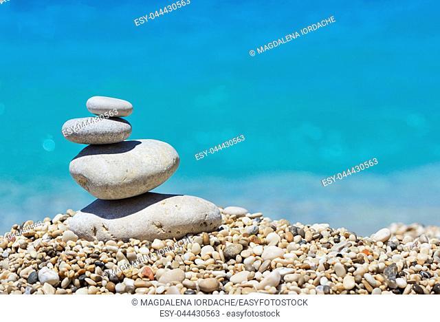 Stack of pebble stones in Lefkada, Greece