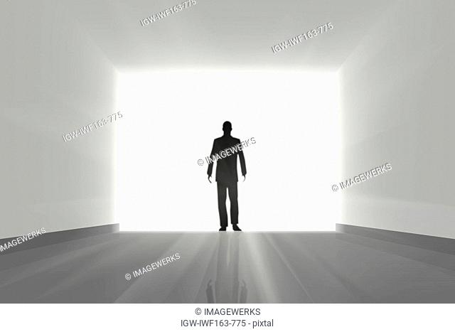 Illustrated image of man standing against sunlight