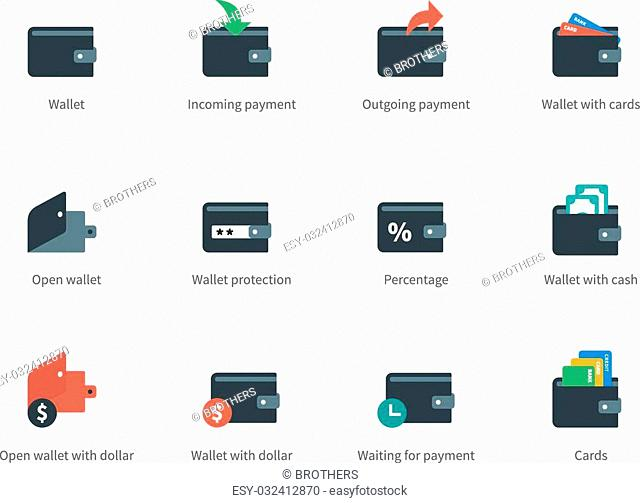 Pictogram collection of finance and money, cards, cash, moneybag, incoming and outgoing payment. Flat design style icons set