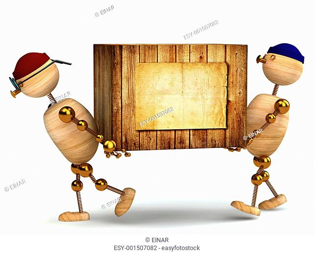 two 3d wood man carring big wooden box