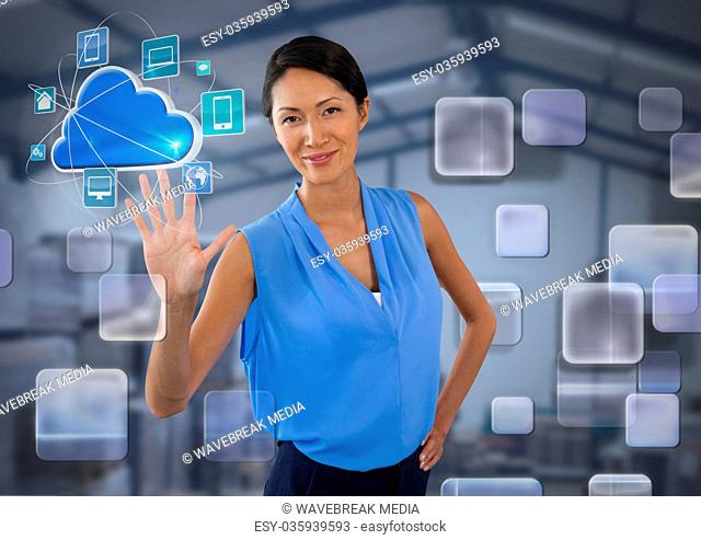 App interface and Businesswoman touching air in front of warehouse