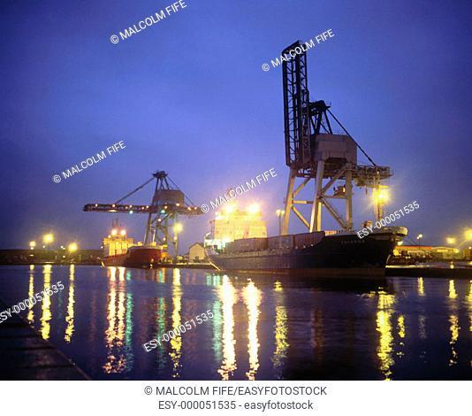 Container quay at night, Grangemouth docks. Scotland