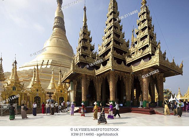 Shwedagon pagoda and Gautama Buddha image temple, Yangon, Myanmar, Asia