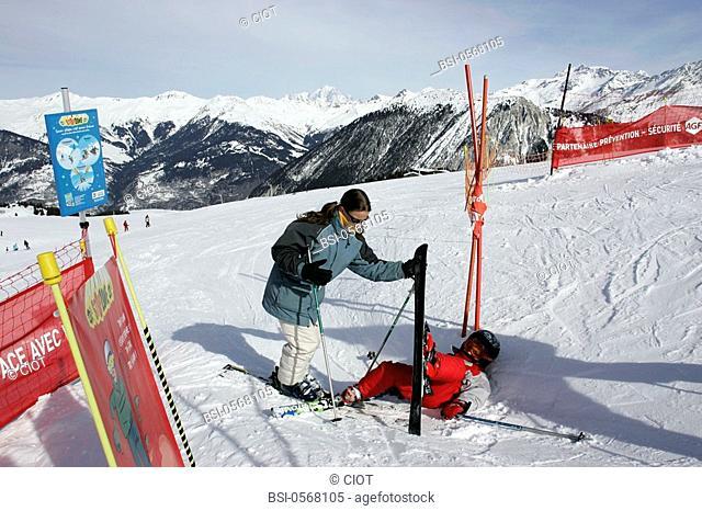 SKIING<BR>Models.<BR>Meribel and Courchevel ski resorts in Savoy Alpine valley