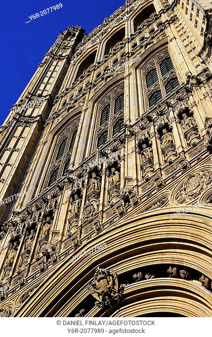 Detail on the Houses of Parliament in London, England, on a sunny Summer day