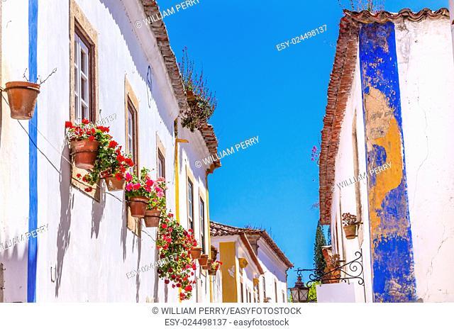Narrow White Blue Street Flowers 11th Century Medieval Town Obidos Portugal