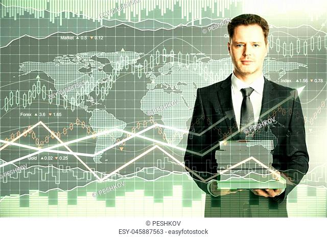 Man with book pile on forex chart background. Education and trade concept