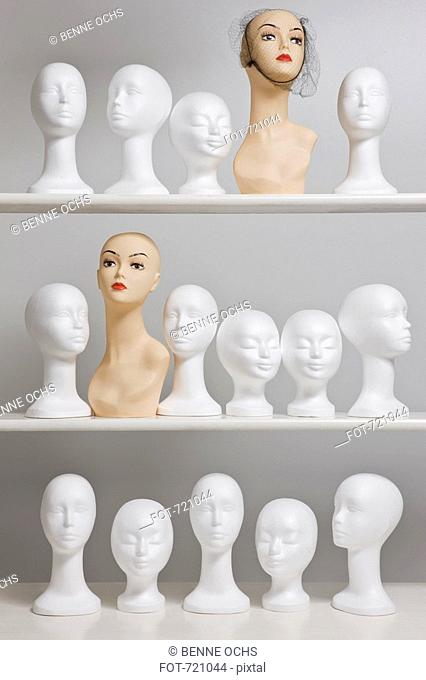 Mannequin busts on shelves