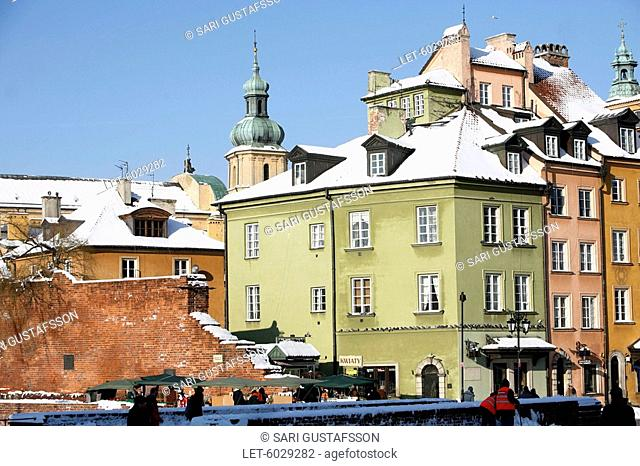 The Old Town and city wall in Warsaw. Poland