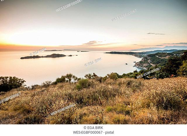 Greece, Corfu, Arillas, evening at the coast