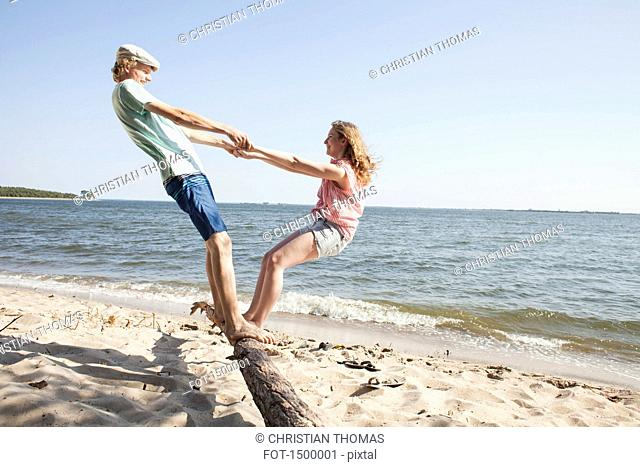 Friends holding hands while standing on driftwood at beach against clear sky