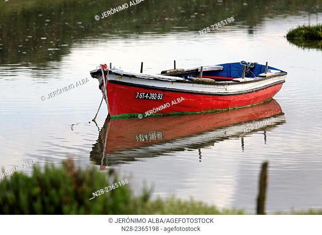 La Maruca beach, fishing boat, Santander, Cantabria, Spain