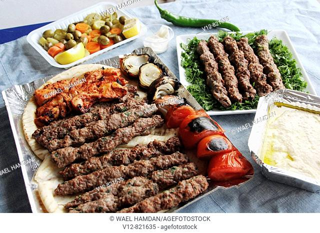Meat and Chicken Kebabs , kofta with bread