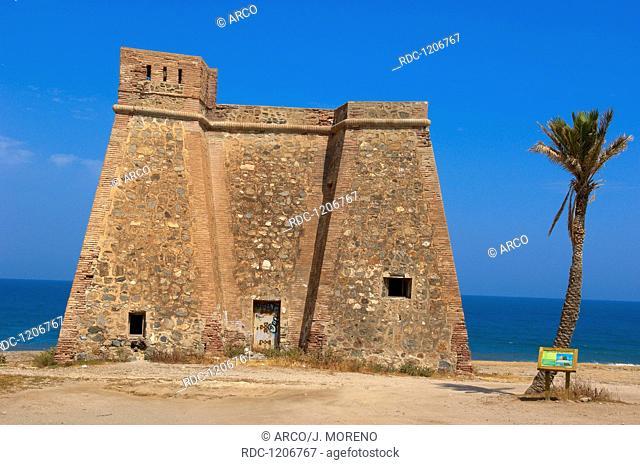 Mojacar, Macenas castle, Castillo de Macenas Beach, Almeria Province, Andalusia, Spain, Europe