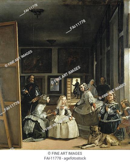 The Maids of Honour (Las Meninas). Velàzquez, Diego (1599-1660). Oil on canvas. Baroque. 1656. Museo del Prado, Madrid. 276x318. Painting
