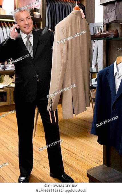 Customer shopping in a clothing store