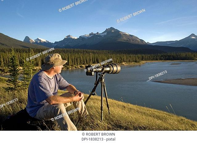 Photographer enjoys the view Banff National Park Banff Alberta Canada