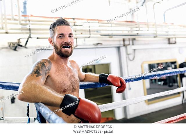 Portrait of boxer in boxing ring