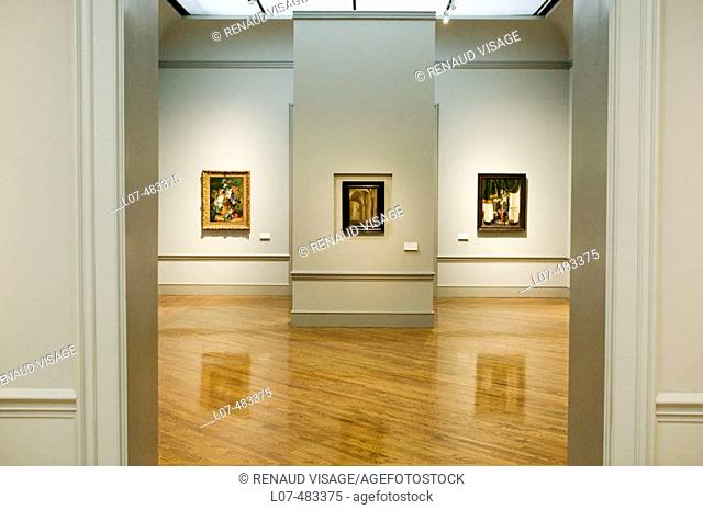 View of room with three paintings. Los Angeles County Museum of Art. Los Angeles. California. United States