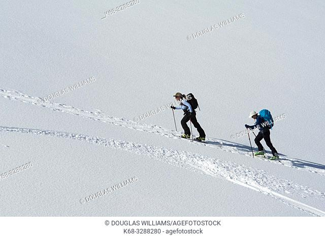 Two women ski up Parker Ridge, Banff National Park, Alberta, Canada