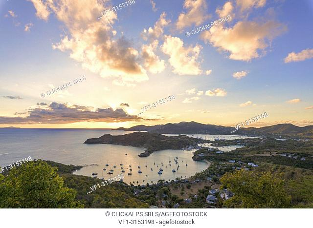 Overview of the English Harbor from Shirley Heights, Antigua, Antigua and Barbuda, Caribbean, Leeward Islands, West Indies