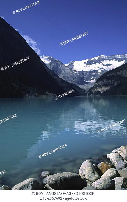 View of Mount Victoria across, Lake Louise in the Canadian Rocky Mountains