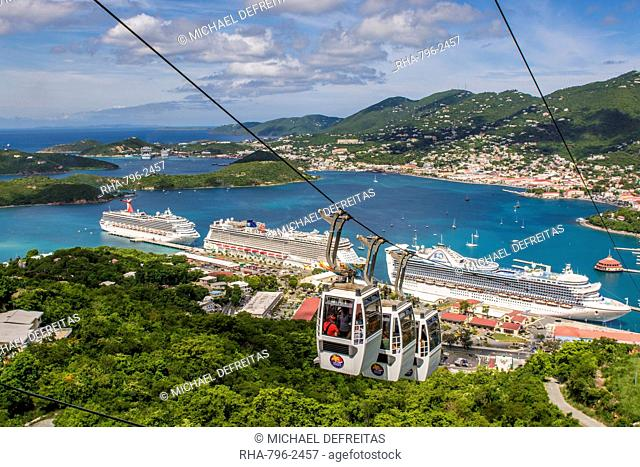 Cable Cars above cruise terminal in Charlotte Amalie, St. Thomas, US Virgin Islands, Caribbean