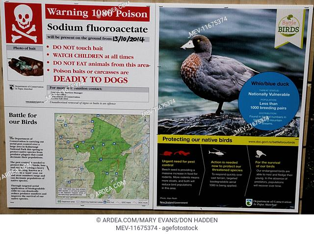 1080 Warning Sign these poison baits laid to kill predators of the Blue Duck an endangered mountain species