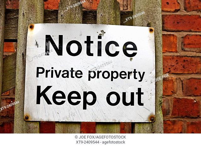 notice sign for private property keep out england uk