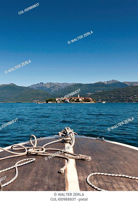 Tourboat heading for Borromean Islands on Lake Maggiore, Piedmont, Italy