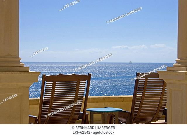 Deck chairs on the terrace with seaview, Palma, Majorca, Balearic Islands, Spain, Europe