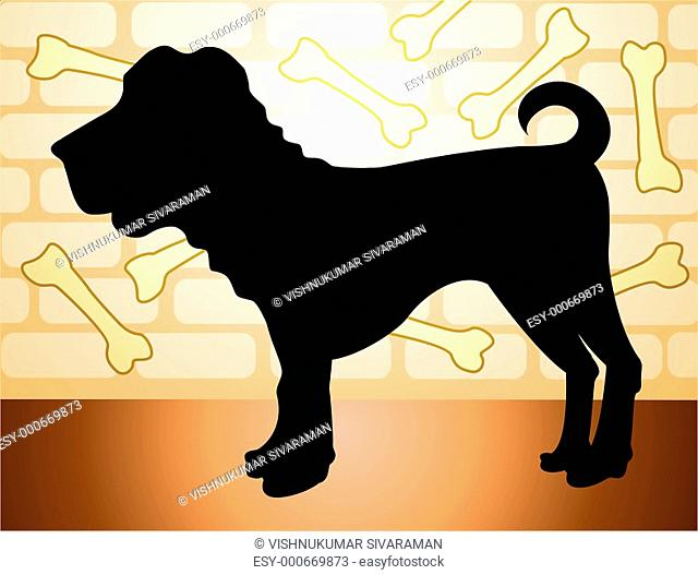 Illustration of black colour dog