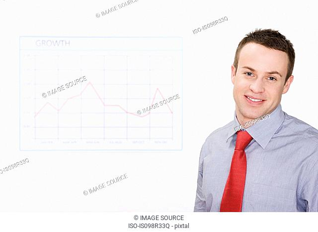 Office worker with graph
