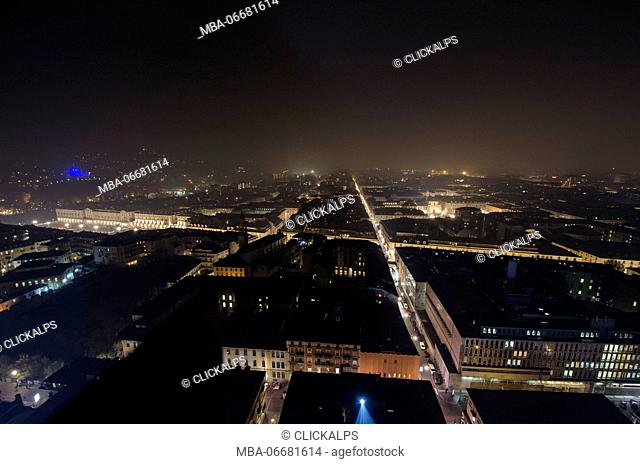 Nocturnal view from the top of Mole Antonelliana (Turin, Piedmont)