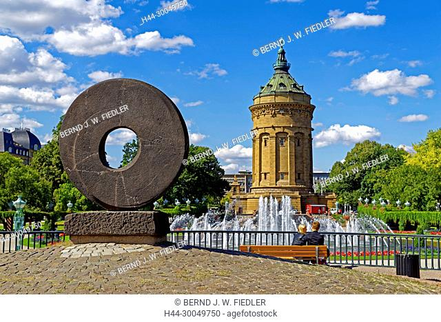 Lipsi wheel, water fountains, fountains, water tower, Mannheim Germany