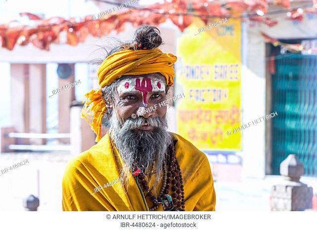 Sadhu, holy man, portrait, Varanasi, Uttar Pradesh, India